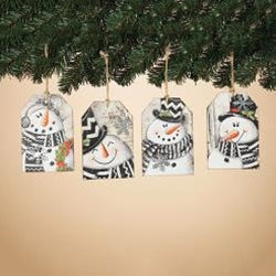 Wood Snowman Tag Ornament Various Styles