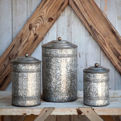 Galvanized Canister Large