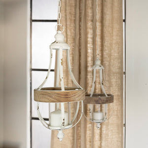 Wood and Metal Hanging Lantern Small