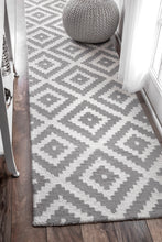 Load image into Gallery viewer, Tuscan Scandinavia Diamond White and Grey Runner 2.5 x 8 100% Wool