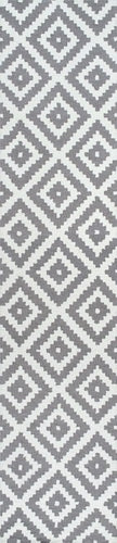 Tuscan Scandinavia Diamond White and Grey Runner 2.5 x 8 100% Wool