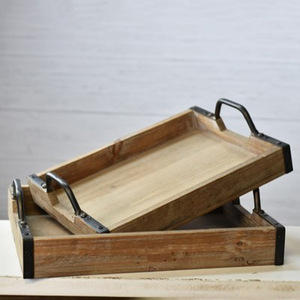 Wood Tray with Industrial Metal Handles Large