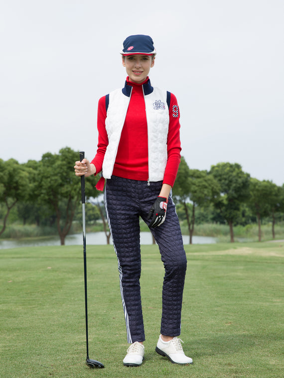 Women's padded pants with white stripe trims, in navy.