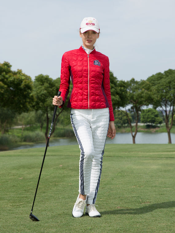 Women's padded zip-up jacket, in red.
