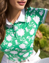 women's short sleeve, printed polo shirt,in green