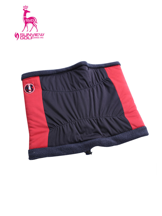 Fleece Neck Warmer, in navy and red color blocking.