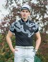 men's short sleeve, polo collar, in white and black block