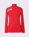 Women's red long sleeve layering top with mock neck, slogan print.