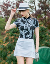women's short sleeve, polo collar, in white and black block