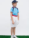 Boy's short sleeve marine polo, in blue, navy and red color blocking.