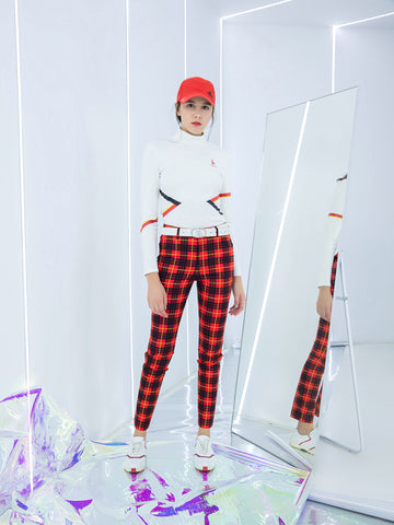 Women's slim pants, in red and plaid print.
