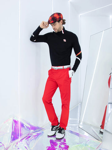 Men's long sleeve layer top with mock neck, in black, red and white stripe trims.
