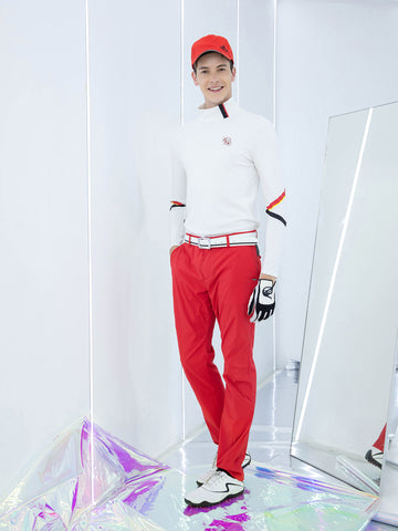 Men's long sleeve layer top with mock neck, in white, red and black stripe trims.