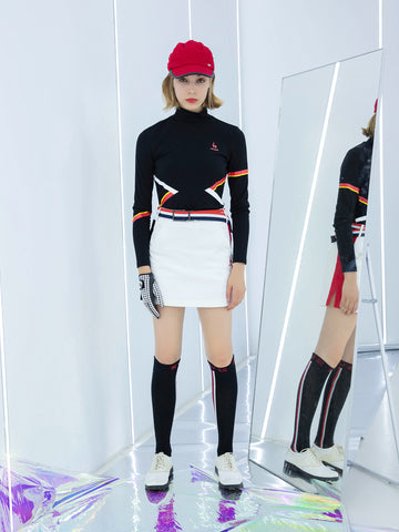 Women's long sleeve layer top with mock neck, in black, red and white stripe trims.