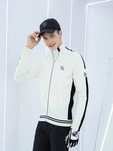 Men's zip-up sweater, in black and white color blocking.
