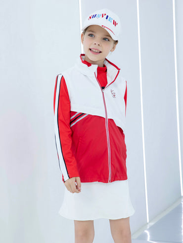 Girl's rainproof zip-up vest, in white and red color blocking.