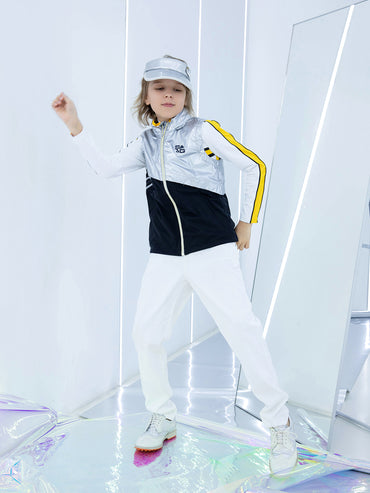 Boy's rainproof zip-up vest, in silver and black color blocking.