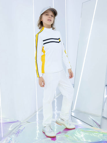 Boy's long sleeve top with mock neck, in yellow and white color blocking, and black trims.