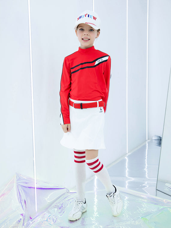Girl's long sleeve top with mock neck, in red and white color blocking, and black trims.