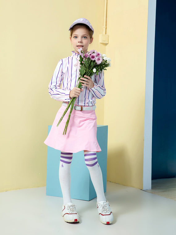 Girl's long sleeve top with ruffled neck, in white, pink and blue stripes.