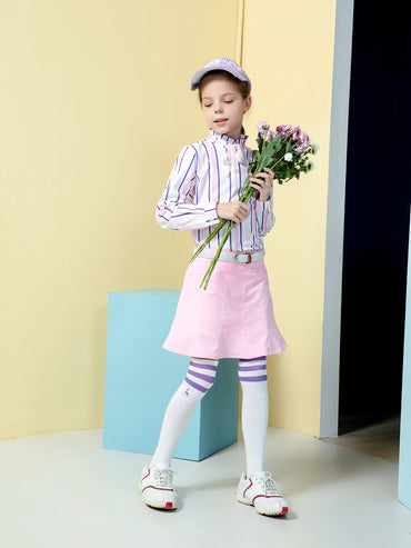 Girl's A-line skirt with flared hem, in pink.
