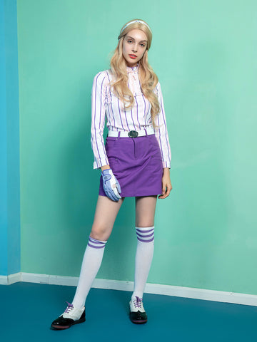 Women's long sleeve top with ruffled neck, in white, pink and blue stripes.