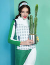 Women's down vest with stand collar, in white and green color blocking, gray plaid print.