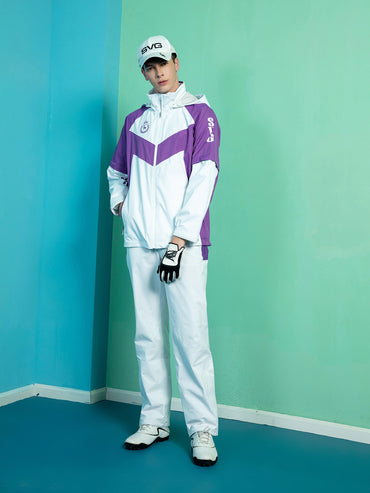 Men's straight rain pants, in white and purple color blocking.