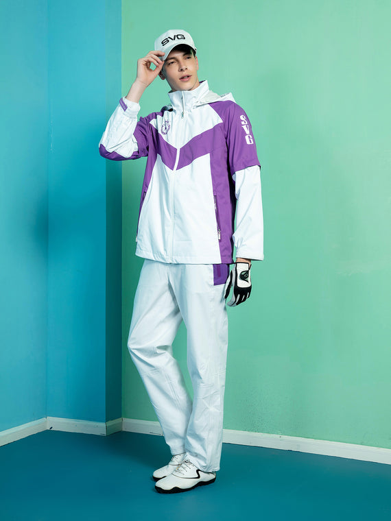 Men's hooded rain jacket, in white and purple color blocking.