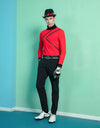 Men's long sleeve layer top with mock neck, in black and red color blocking.