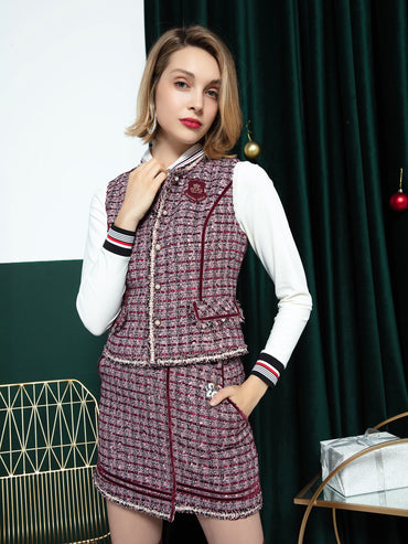 Women's Chanel's style vest, in magenta and houndstooth print.