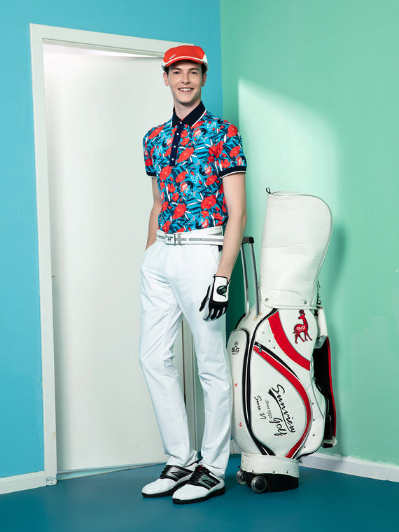 Men's short sleeve polo, in blue, with all-over floral print.