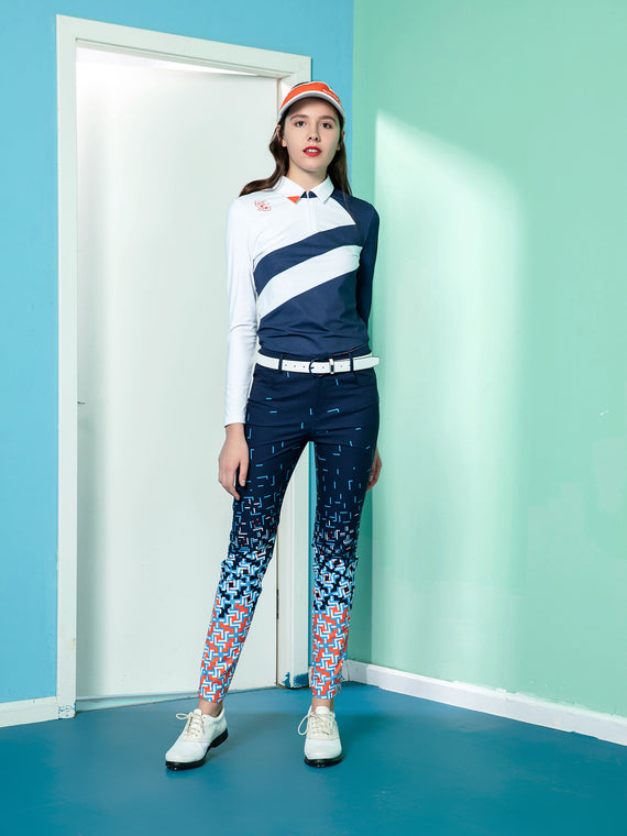 Women's straight pants, in multi-color geo print.