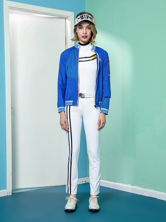 Women's straight pants, in white, with black stripe accents.