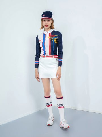 Women's long sleeve polo, in white and navy color blocking, with phoenix print, red and blue stripe trims.