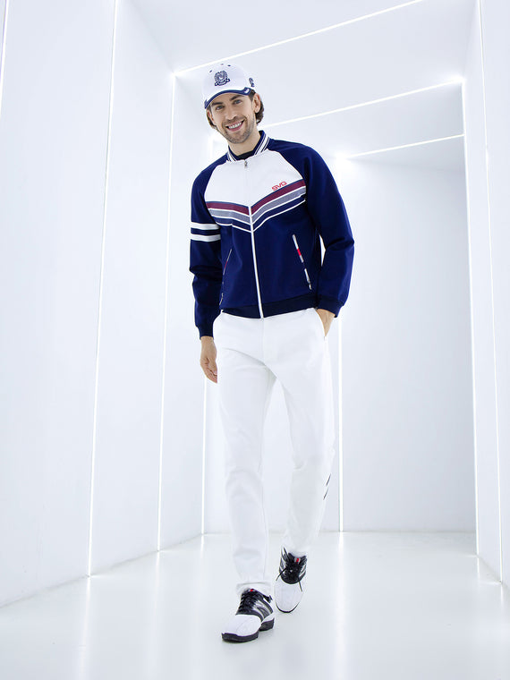 Men's stretchy zip-up jacket, in navy, red and white color blocking.