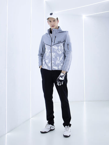 Men's zip-up jacket with padding, in gray, white and black color blocking.
