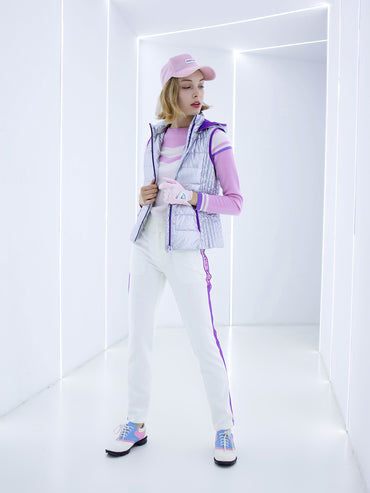 Women's hooded down vest, in silver or purple.