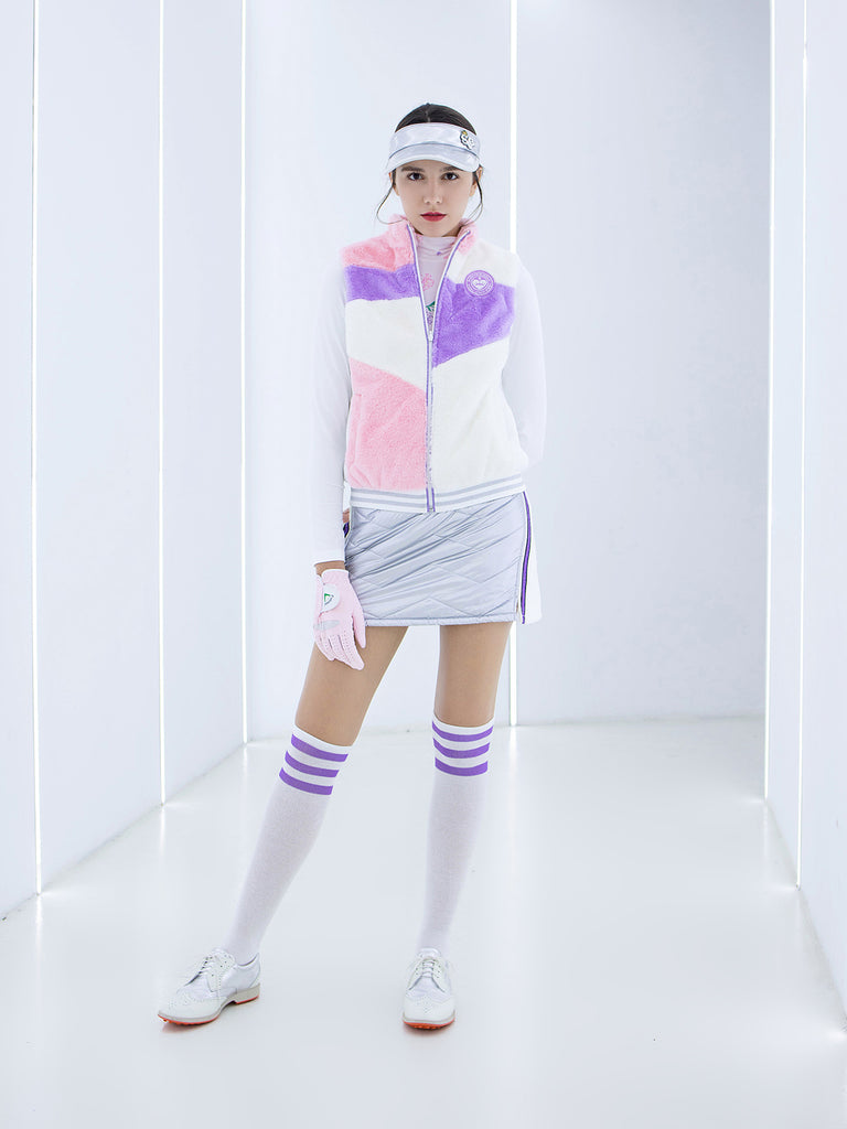 Women's padded A-line skirt with purple stripe trims, in silver and white color blocking.