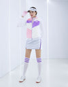Women's plush vest with stand collar, in white, pink and purple color blocking.