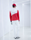 Men's rainproof zip-up vest, in silver and red color blocking.