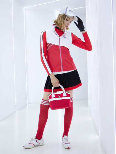 Women's rainproof zip-up vest, in white and red color blocking.