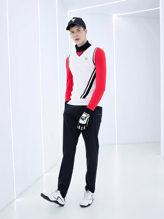 Men's knit vest with black trims, in white.
