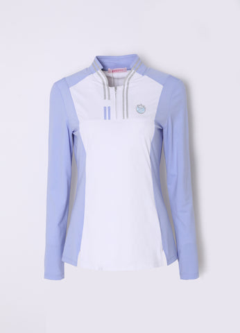Women's long sleeve layering top with zipped stand collar, in blue and white color blocking.