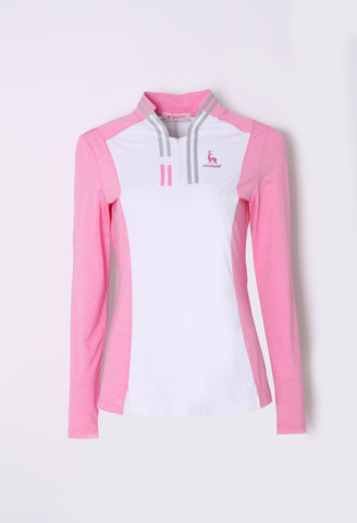 Women's long sleeve layering top with zipped stand collar, in pink and white color blocking.
