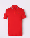 Men's short sleeve polo, with navy and white color blocking on sleeves.