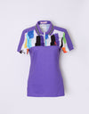 Women's purple short sleeve polo, with rainbow blast print.