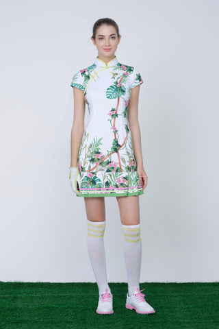 Women's mid-length cheongsam, in white floral, and humingbird print.