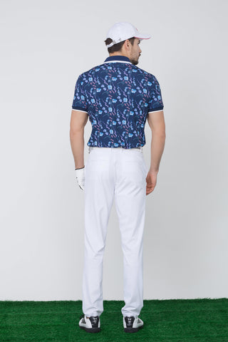Men's short sleeve polo, in navy, with all-over floral print.