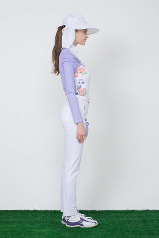 Women's long sleeve tee, zipped stand collar, puff sleeve, in purple floral print.